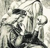 Drawing of Hamlet and skull