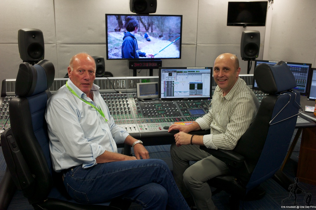 John Wood and Mike Stewart in the dubbing studios at te Sound House in MediaCityUK