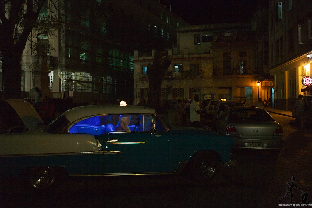 Taxi waiting to take you into there Havana Night by Erik Knudsen