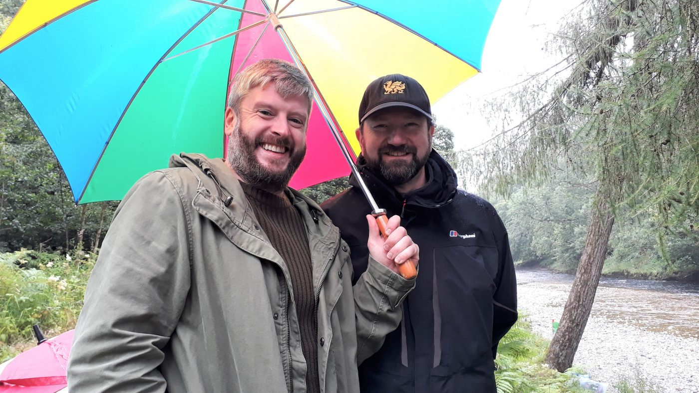 Ken Lang and Ben Hynes on the set of True Calling
